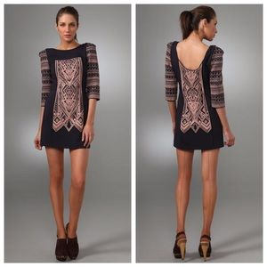 Tibi Byzantine Embroidery Dress in Ink/Dune